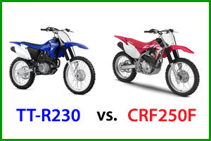 Yamaha TT-R230 and Honda CRF250F dirt bikes
