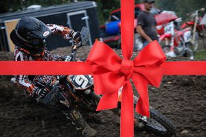 dirt bike with red bow