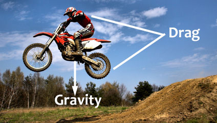 example of Newton's First Law using dirt bike