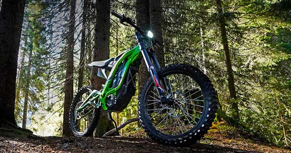 Sur-Ron Light Bee electric dirt bike in forest